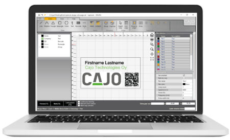 CajoSuite design mode laptop