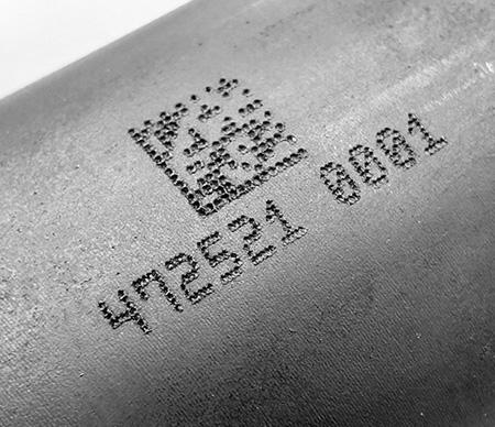 Laser Engraving on Mild Steel (data matrix, serial number)